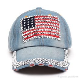 fd81e4530bf baseball caps Summer 4th of July American Flag Hat Cowboy Fashion  Rhinestone denim Cap 6 Panels Snapback Leisure Sun Hat C956