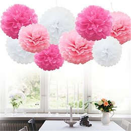 2020 flores de papel de seda rosa 9 piezas de papel de seda Pompones Bolas de flores Fluffy Christmas Wedding Party Decoration Xmas Home Garden Tool Supplies flores de papel de seda rosa baratos