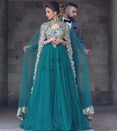 Canada 2019 chasseur arabe robes de soirée musulmanes avec wrap haut cou balayage train appliques or occasion spéciale robe plus la taille robes de fiesta Offre