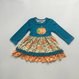 Vestidos de inverno laranja on-line-Autume Outono / inverno do bebê meninas boutique orange jade floral abóbora polka dot dress crianças roupas leite de seda algodão na altura do joelho