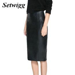 Falda de cuero de imitación de cintura alta online-Setwigg Womens Winter Faux Leather Midi Lápiz Faldas Cintura Alta Cremallera Volver Split Pu Bodycon Debajo de la rodilla Falda de oficina S19715