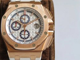 v2 case Promo Codes - JF V2 latest version Luxury Royal Oak Offshore 26408 watch Cal.3126 Automatic Chronograph Rose gold Case Sapphire Crystal Rubber strap