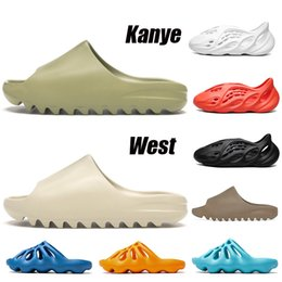 Rosa mode sandalen online-Orignals Kanye west 2020 Resin Bone Earth Brown Wüstensand EVA Foam Runner Slides Stock x Herren Damen Kinder Kinder Hausschuhe Hausschuhe Sandalen