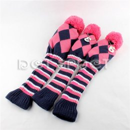 tri pack Promo Codes - Free Shipping Tri Pack Pink Knit Pompom Golf Headcovers Head Covers for Driver Fairway Wholesale