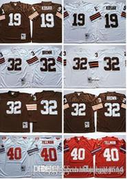 Tamanho 56 camisolas on-line-Homens Cleveland Brown Retro jerseys # 32 Jim Brown # 19 Bernie Kosar Costurado Camisa de Futebol tamanho 48-56
