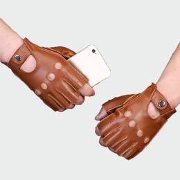 guanti da lavoro in pelle manica con manico Sconti Guanti in vera pelle da uomo antiscivolo mezzo dito pelle di pecora fingerless palestra fitness guida guanti maschili Ml043 T190618