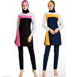Bonés muçulmanos dubai on-line-Terno de Natação Para As Mulheres Roupas Hijab Top Inferior Caps 3 Peça Set Muçulmano Islâmico Swimwear Swimsuit Dubai Abrab Banho Burkini