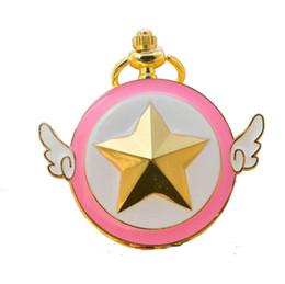 Luna marinera caliente online-Nuevos niños niños Alas de ángel Variedad Sakura estrellas cadena colgante reloj de bolsillo Nueva venta caliente Sailor Moon bolsillo reloj de regalo