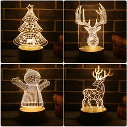 Luci di albero di natale rosa online-2018 Nuova lampada LED 3D Cute Christmas Tree Pupazzo di neve LED Night Light Xmas Party Decoration Lampada a risparmio energetico