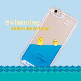 Pato móvil online-Dynamic 3D Cute Duck Swimming Funda dura para teléfono líquido Funda transparente para iPhone Funda para teléfono móvil