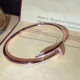 Canada En gros Marque Pure 925 Sterling Argent Femmes Rose Or Nail Bracelet manchette Bracelet Bijoux Classique Bijoux Top Qualité Offre