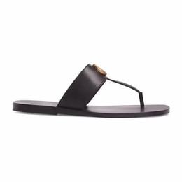 Mode Schwarz weiches Leder Francis Thong Sandals Herren und Damen kausalen flachen Strand Slip auf Sandalen von Fabrikanten