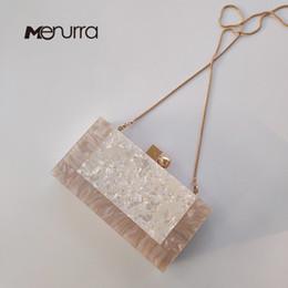 Borse bianche solide online-Donna New Acrylic Wallet Brand Fashion Piccola borsa da sposa Luxury Marble White Solid Eveningbag Donna Prom Party frizione casual J190630