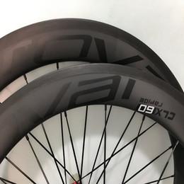 60mm cxl completo ruedas de carbono en ud bicicleta mates logo negro ruedas de la bicicleta del camino del remachador 700C 23mm superficie de basalto hecho en el envío libre de China desde fabricantes