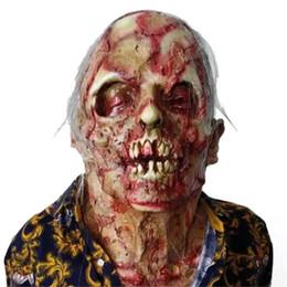 La couverture du crâne en Ligne-Horreur Pourri zombie crâne couverture Bloody Zombie Masque Fondre Visage Adulte Costume En Latex Halloween Effrayant Prop