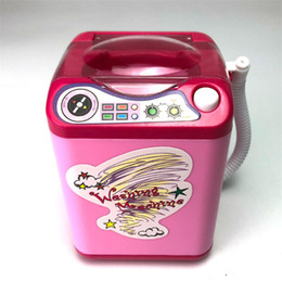 Argentina Buen precio Mini simulación eléctrica lavadora lavadora eléctrica Para limpiar el cepillo cosmético Puff pequeña herramienta de maquillaje juguetes envío gratis cheap clean makeup Suministro