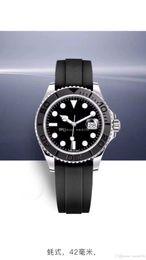 Relógio Mens YACHT MASTER 42mm de Borracha Subiu de ouro Movimento Mecânico Automático Mens Relógios De Aço Inoxidável Relógio de pulso frete grátis de Fornecedores de cristais de epóxi