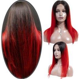 2019 cheio de renda cabelo humano vermelho Peruano Rendas Frente Perucas de Cabelo Humano Para As Mulheres Negras Remy Peruca de Cabelo Em Linha Reta Com o Cabelo Do Bebê Full End 1b / vermelho verde / azul desconto cheio de renda cabelo humano vermelho