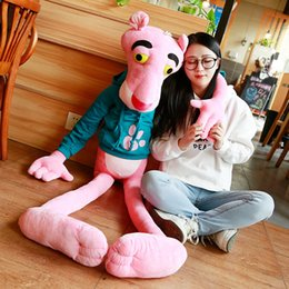 pink panther stuff toy Promo Codes - 1PC 55-150CM High Quality Big Size Baby Toys Plaything Cute Naughty Pink Panther Plush Stuffed Doll Toy Home Decor Kids Gift SH190913