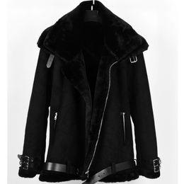 2019 menskaninchenfell-lederjacke 2019 Fashion Warm Faux-Kaninchen-Pelz-Winter-beiläufige Mens Doppel-Kragen-Pelz-Mantel-Leder-Jacke Men Suede Overcoat Plus Size SH190930 günstig menskaninchenfell-lederjacke