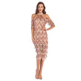 baile sexy para mujeres Rebajas Diseño de lujo nuevo para mujer Sexy Dance Vestido de lentejuelas de alta calidad Shiny Cocktail Party noche vestido de la borla