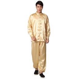 золотые костюмы для новинок Скидка Новинка Золото мужская атласная пижама набор в китайском стиле пуговицы пижамы костюм мягкий пижамы рубашка брюки брюк ночная рубашка M L XL XXL