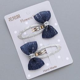 Nastro a righe di raso online-2Pcs / lot Grid Stripe Satin Bow con nastro coperto clip per ragazze bambini Handmade Boutique Mini accessori per capelli tornante