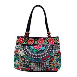 Chinesische ethnische handtaschen online-Chinesische Art Frauen-Handtasche Stickerei Ethnic Sommer-Art- und handgemachte Blumen-Damen Tote Schultertasche