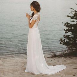 2019 jupe mariée Robe de mariée de plage v-cou mancherons A-ligne mousseline de soie jupe dentelle top dos ouvert Boho robe de mariée robe de mariée livraison gratuite jupe mariée pas cher