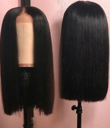 2019 pattini di seta del germoglio Parrucche di capelli umani brasiliane Parrucche frontali in pizzo con parrucca diritta per capelli Hair Remy Hair Natural Hairline Full End Black Color