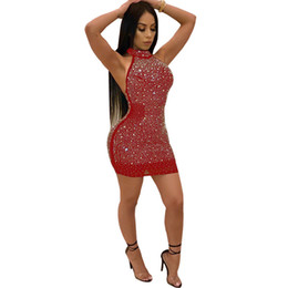 Vestidos abertos da parte traseira do bodycon on-line-Sparkly strass sexy plus size dress mulheres aberto para trás do ombro bodycon dress elegante malha sem mangas vestidos de festa NZK-1677