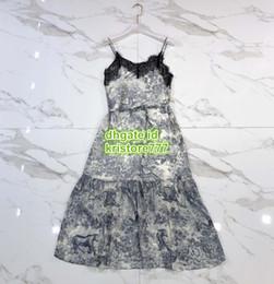 Vestito da sirena dell'annata midi online-High End Donna Vintage Jungle Camisole Tee Abito midi con t-shirt in pizzo Perline femminili Runway Vest Mermaid Shirt Long Sling Dress SML