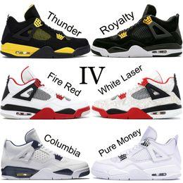 Sapatas pretas militares on-line-Top Nike Air Jordan Retro 4 4 s Homens Tênis De Basquete New White Laser Black Cat Trovão Militar Azul 2019 Sapatos de Grife Esporte Tênis Tamanho 7-13