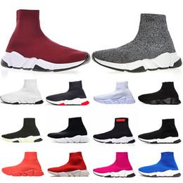 Descuento calcetines de color rosa online-Zapatos Balenciaga hombre calcetines Rojo Gris Triple Negro Blanco Rosa Azul Moda Botas de calcetines planos Zapatos casuales Tela elástica Zapatillas de deporte