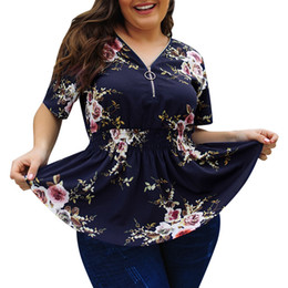f21613d479 2019 Fashion Plus Size XL-5XL Womens Floral Print V Neck Shirt Ladies Zip  Up Summer Blouse Tops Roupa Feminina