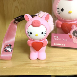 Trasduttore auricolare kawaii online-Carino Cartoon Mini Cat Portamonete piccolo cambiamento Pouch ragazze di alta qualità morbida borsa del silicone Kawaii Dinheiro auricolare Box Portachiavi