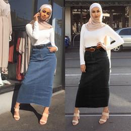 2019 roupas muçulmanas por atacado Mulheres Denim saia longa reta Bodycon Maxi saias de cintura alta Abaya muçulmana Bottoms Jeans islâmicos Saias Oriente Médio Moda