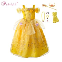 Meninas belle trajes on-line-Pettigirl Bela ea Fera Costumes Princesa Belle Costume Party Girl fada Shoulderless Wddding Halloween Dress Cosplay Kid