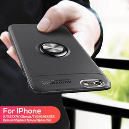 Металлическое кольцо кронштейн магнитный Мягкий силиконовый чехол дизайнер телефон случаях падение устойчивостью Крышка для iphone x xs xs max xr 6 7 8 от