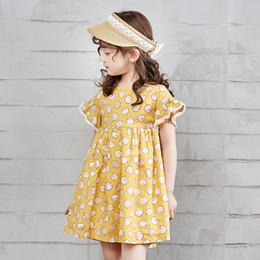 платья для девочек из хлопка Скидка Летнее детское короткое милое повседневное платье Расклешенное платье из хлопка для девочек с цветочным принтом A-Line с коротким рукавом и юбкой для девочек