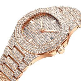tendência de relógio de pulso Desconto Senhora luxuoso enchido com o relógio de pulso impermeável de quartzo da tendência do relógio de pulso do calendário do diamante