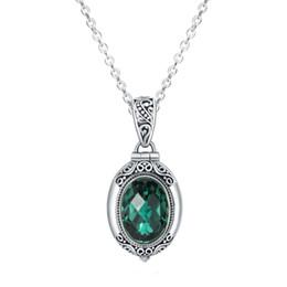 porzellan großhandel anhänger antik Rabatt Großhandel Frauen 925 Silber Wish Box Grün Kristall Anhänger Halskette Open Thai Silber Antique Jewelry