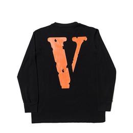 Freunde logos online-19ss beiläufiges neues Art-klassisches V einsames FREUND-digitales direktes Spray LOGO großes V Frauen-Mannbaumwolllanges Hülsent-shirts Hip Hop-Mann-Art- und Weiset-stück