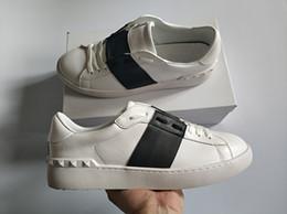 han edition белые кроссовки Скидка размер Лучшие продажи моды Мужчины Женщины Luxury Дизайнерская обувь Open Black бандаж Классический натуральной кожи Casual марка обуви дизайнер 34-46 для продажи