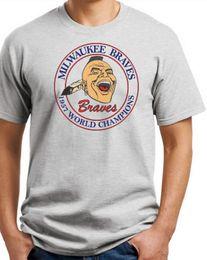 Canada T-shirt Milwaukee Braves 1957 World Series. Vintage logo Heavy Cotton S-3X Funny livraison gratuite Unisexe Casual tshirt supplier worlds funniest t shirts Offre