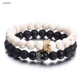 Casal Pulseiras de Pedra Branca Preto Beads Crown Pulseiras Amante Distância Jóias de
