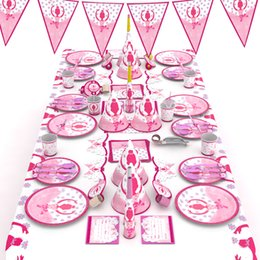 princess party theme decorations Promo Codes - 95pcs lot Cartoon Ballet Princess Theme Party Set Birthday Plate Cups Party Decor Lovely tableware Baby Shower decoration