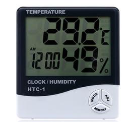 Display eletrônico interior on-line-CHUN0318 Relógio de Temperatura Eletrônico Quente HTC-1 LCD Indoor Medidor de Umidade Alarme Diário E Exibição de Calendário com Pacote de Varejo