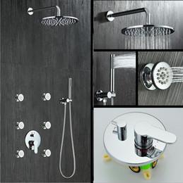 2019 robinet de douche à double poignée Robinet de douche à double poignée Control In Body Set de douche murale avec jets de pluie 8/10/12 pouces en laiton