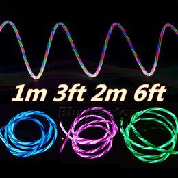 Осветительные телефонные шнуры онлайн-Светодиодный свет течет видимый USB-кабель 1m 3ft 2m 6FT Type-C синхронизация данных алюминиевый металл Micro USB зарядный шнур для Android Samsung Smart Phone